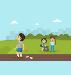 boy and girl gathering rubbish in park bully boy vector image