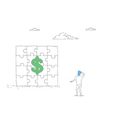 Business man looking at puzzle with dollar sign vector