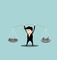 Businessman balance a success and fail in hands vector