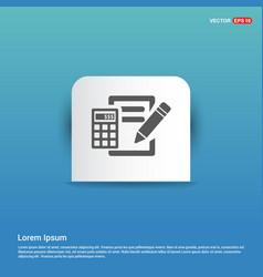 Calculation icon - blue sticker button vector