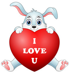 cartoon bunny holding red heart vector image