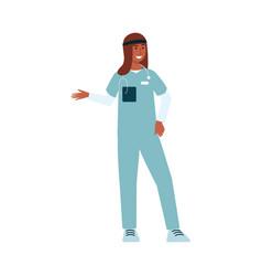 cartoon character in medical scrubs female muslim vector image