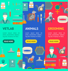 cartoon veterinary and grooming banner vecrtical vector image