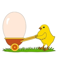 Chicken with easter eggs vector