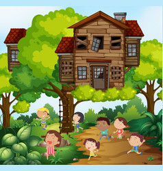 Children and treehouse in the park vector
