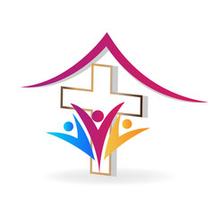 Church family people icon vector