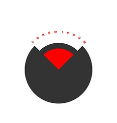 Circular logo with red segment Stylized black vector
