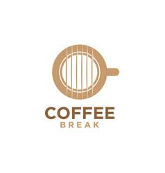 Coffee break music logo design vector