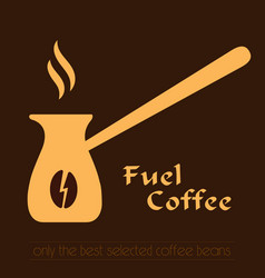 Coffee logo cezve icon and label vector