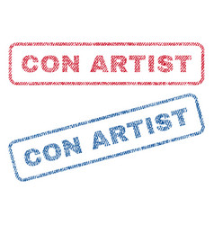 Con artist textile stamps vector