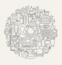 Cosmetics line icons circle vector