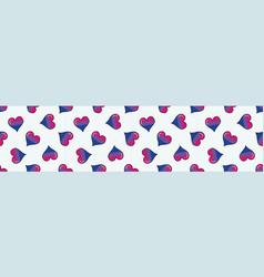 cute bisexual heart cartoon seamless border vector image