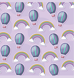 Cute hot air balloons and rainbows background vector