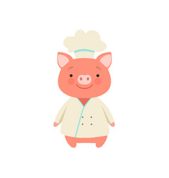 Cute piglet in chef uniform cute cartoon animal vector