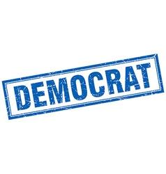 Democrat blue square grunge stamp on white vector