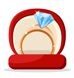 diamond ring in red box on a white vector image