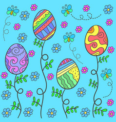 Doodle of easter egg on blue background vector