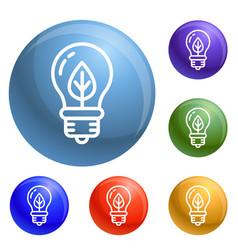 eco leaf bulb icons set vector image