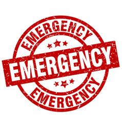 Emergency round red grunge stamp vector