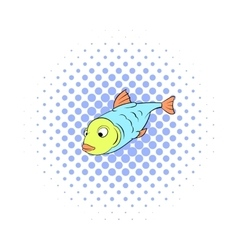 Fish icon in comics style vector