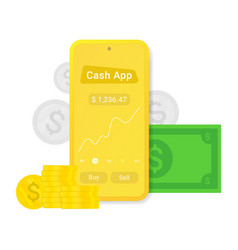 flat cash app or advertising mobile pay sign vector image