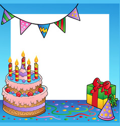 frame with birthday theme 1 vector image