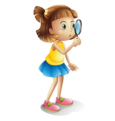 Girl and a magnifying glass vector