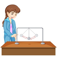 Girl experiment with gravity ball vector