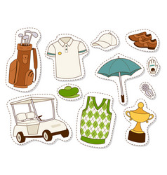 Golf icons hobby car equipment cart player golfing vector