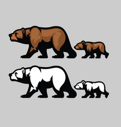 Grizzly bear and her cubs vector