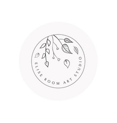 hand drawn floral logo template vector image
