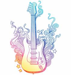 hand drawn guitar vector image