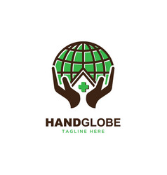 Hand with globe l logo vector