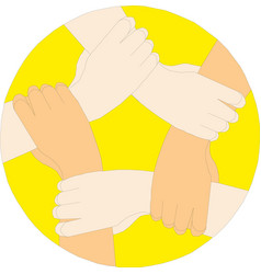 hands connecting cooperation concept vector image