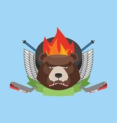 hockey bear emblem vector image