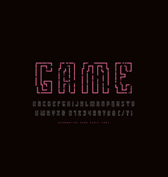 hollow sans serif font in cyber style vector image