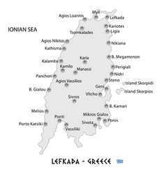 island of lefkada in greece white map vector image