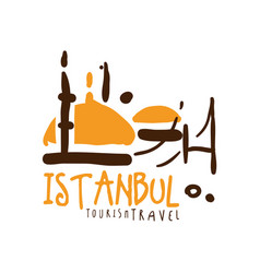 Istanbul travel logo template hand drawn vector