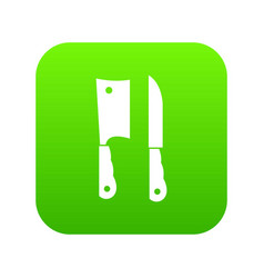 kitchen knife and meat knife icon digital green vector image