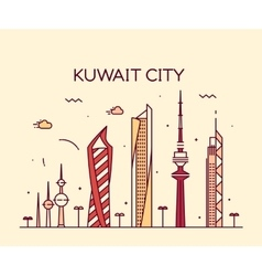 Kuwait city skyline silhouette linear style vector
