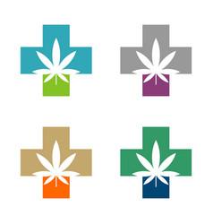 marijuana leaf and cross logo template design vector image
