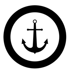 Marine anchor the black color icon in circle or vector