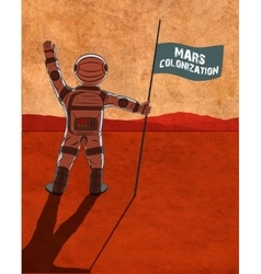 Mars colonization Astronaut on the planet vector image