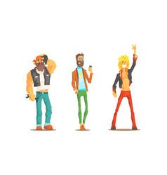 Men different subcultures set rocker hipster vector