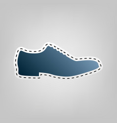 men shoes sign blue icon with outline for vector image