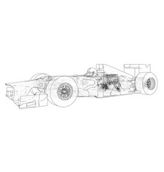Model speed car wire-frame eps10 format vector