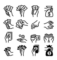 money and hand icon set vector image