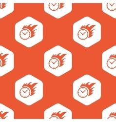 Orange hexagon burning clock pattern vector