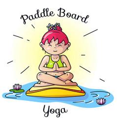 paddle board yoga meditation image vector image