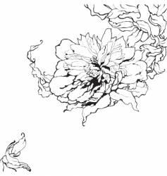 peony sketch vector image vector image